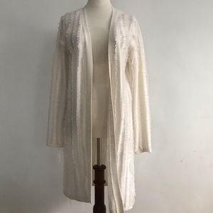 525 America Cream Frilly Long Sleeve Coverup